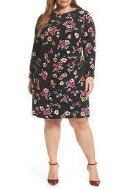 Eliza J Long Sleeve Floral Print Dress Plus Size Nordstrom Rack