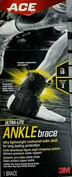 Ace Large Ultra Lite Ankle Brace Firm Support Left Or Right Black