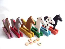 Wooden Horse Racing Game Vintage Horse Race Game Solid Wood Numbers 100 thru 100 Horses Great 65