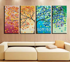 home office artwork. Home Decor Abstract Tree Office Artwork Canvas Stretched Landscape  Oil Painting Nature Four Home Office Artwork