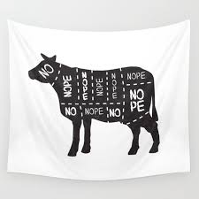 Cow Meat Chart Vegetarian Vegan Cow No Meat Cut Chart Diagram Wall Tapestry By Sixsixninenine