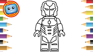 Play coloring iron man 3 totally free and online. How To Draw A Lego Iron Man Colouring Book Simple Drawing Game Animation Youtube