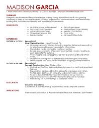 Resume Templates For Receptionist