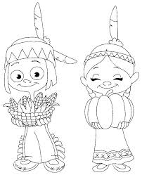 Girl Coloring Page Pages Pilgrim And Of Native American