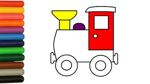 Coloring pages for kids train coloring pages. Train Toy Coloring Pages For Children How To Colour Train With Colored Markers Youtube
