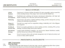 A Summary For A Resumes Resume Skills Summary Free Excel Templates