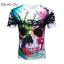 <b>Devin Du</b> Thunder Skull T Shirt Men Women Hip Hop Summer T ...