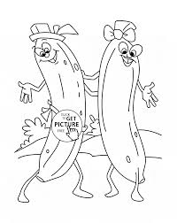 Funny Bananas Dancing Fruit Coloring Page