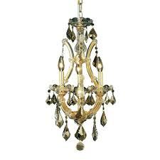 elegant lighting 4 light gold chandelier with golden teak smoky crystal el2800d12g gt rc the home depot