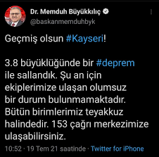 Son dakika) Kayseri'de deprem!