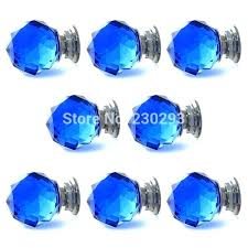 blue cabinet handles glass pulls lot ball shaped crystal furniture knobs drawer and white