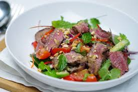 Asian beef salad with cucumber dressing