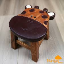 solid timber wooden kids toddler animal shoes changing stool chair giraffe