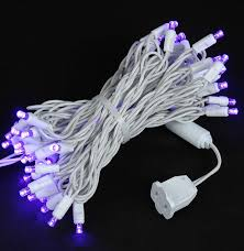 purple led christmas lights novelty lights inc commercial grade wide angle 50 led purple 25 long white wire
