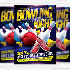 Bowling Event Flyer Template Bowling Night Premium Flyer Template Facebook Cover