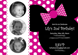 Minnie Mouse Invitation Design Incorporating The Pictures Minnie Mouse Birthday