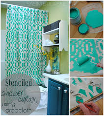 Drop Cloth Curtains Tutorial Diy Stenciled Shower Curtain Using Drop Cloth Jenna Burger