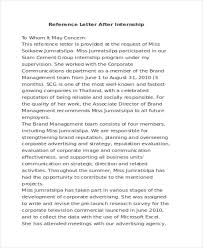 Letter Of Recommendation For Internship Free 10 Reference Letter Sample