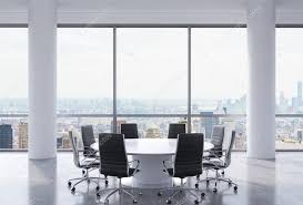 panoramic conference room in modern office new york city view black chairs and a white round table 3d rendering photo by denisismagilov