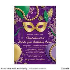 Mardi Gras Mask Birthday Invitation   Zazzle.com in 2020   Mardi gras,  Mardi gras invitations, Mardi gras mask