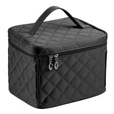 amazon en da big size nylon cosmetic bags with quality zipper single layer travel makeup bags black beauty
