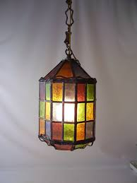 vintage stained glass leaded hanging light lamp chandelier shade rainbow colorful lighting mid century retro modern