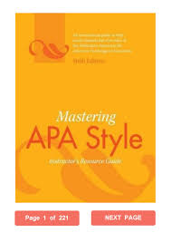 Mastering Apa Style American Psychological Association Pdf Instructors Resource Guide