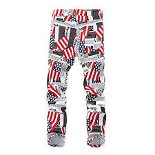 Plus Size Jeans Chart Amazon Com Mens America Flag Pants Plus Size Casual