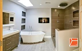 modern master bathroom with the onyx touchstone s electric fireplace with heat in black freestanding bathtub