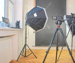 Professional Film Lighting Equipment Empty Photo Studio With Lighting Equipment Professional Camera