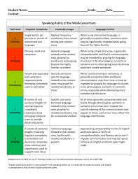 Wida Proficiency Levels Chart Writing Rubric Of The Wida Consortium Grades 1 12