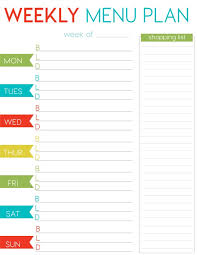 weekly menue planner weekly menu planner printable