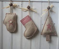 Rustic Christmas Ornaments Handmade Rustic Christmas Tree Stocking Mitten Decoration Made