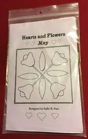 Uncut Hearts & Flowers Monthly Quilt Block Pattern for May. Sallie ...