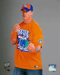 wwe john cena wearing never give up orange shirt 8 by 10 full color 2010 photo