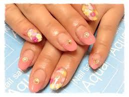 ピンクフレンチ小花柄 浜松市中区のネイルサロンnailsalon Aqua