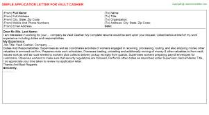 Application For Cashier Vault Cashier Application Letter