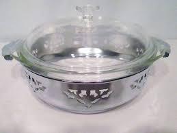 details about vintage pyrex clear glass serving bowl lid silver chrome cut out pierced server