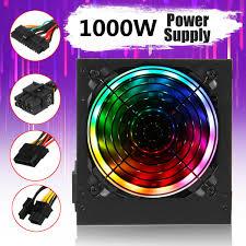 Fluval Spec V Black Slip On Led Light 1000w 110v Computer Gaming Power Supply Led Light Psu Pfc 24pin Sata For Atx Pc
