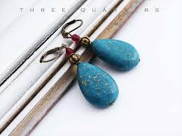 Three Quarters Earrings Drop Petrol Blue Gold Gold Thread