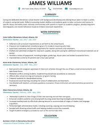 Elementary Teacher Resume Examples Resume Corner