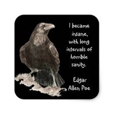 edgar allen poe stickers zazzle edgar allen poe insanity quote watercolor raven square sticker