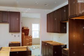 Assembling On Kitchen Cabinets Remodel Furniture Installation Stock