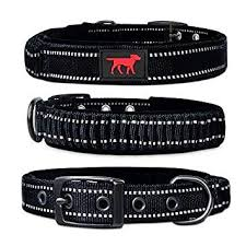 Ballistic <b>Nylon</b> Heavy Duty Collar | Padded <b>Reflective Dog</b> Collar With