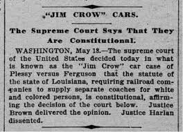 Image result for u.s. supreme court decision on plessy vs ferguson