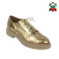 women s gold colour leather oxford shoes 32546 las casual shoes bg look com