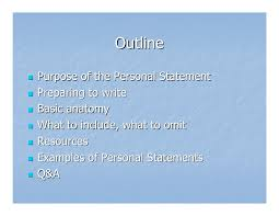 Personal Statement Outline Personal Statement Workshop 2008