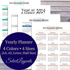 Multi Year Planner 2019 Yearly Planner Year At A Glance Multi Color Set Printable Pdf Template