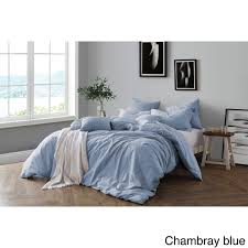 swift home all natural prewashed yarn dye cotton chambray duvet cover set luxurous soft wrinkled look eco friendly package com
