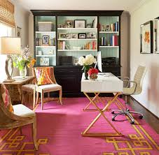 colorful feminine office furniture. Feminine-pink-office-pink-rug-gold-decor-home- Colorful Feminine Office Furniture